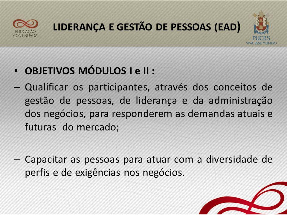 OBJETIVOS MÓDULOS I e II : – Qualificar os participantes, através dos conceitos de gestão de pessoas, de liderança e da administração dos negócios, pa