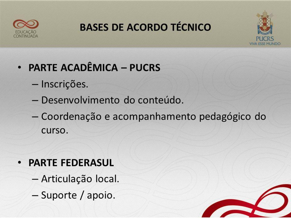 BASES DE ACORDO TÉCNICO PARTE ACADÊMICA – PUCRS – Inscrições. – Desenvolvimento do conteúdo. – Coordenação e acompanhamento pedagógico do curso. PARTE