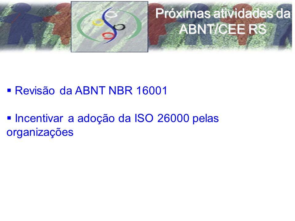 Revisão da ABNT NBR 16001 Incentivar a adoção da ISO 26000 pelas organizações Próximas atividades da ABNT/CEE RS