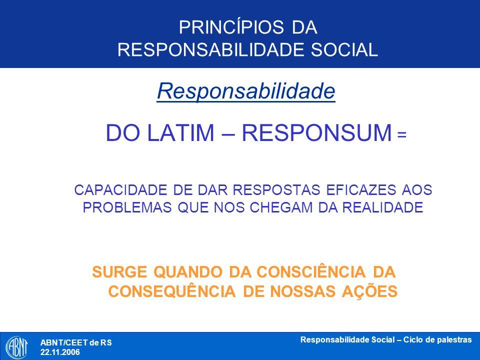 ABNT/CEET de RS 18.10.2006 Responsabilidade Social – Ciclo de palestras PRINCÍPIOS DA RESPONSABILIDADE SOCIAL RESPOSTA ABNT/CEET de RS 22.11.2006