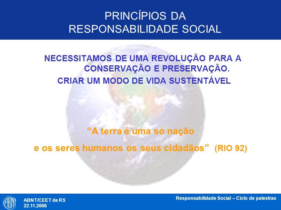 ABNT/CEET de RS 18.10.2006 Responsabilidade Social – Ciclo de palestras Tópicos de discussão 19.09.2006 Responsabilidade Social – Ciclo de palestras Tópico 3 Filantropia versus RS: distinção do que a norma deve conter ABNT/CEET de RS 18.10.2006 ABNT/CEET de RS 22.11.2006