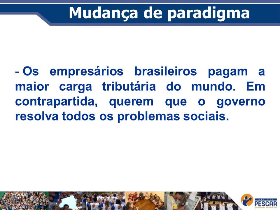 Mudança de paradigma - Os empresários brasileiros pagam a maior carga tributária do mundo. Em contrapartida, querem que o governo resolva todos os pro