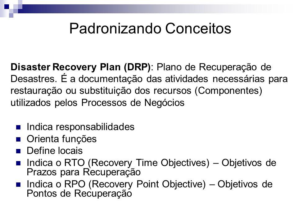 Indica responsabilidades Orienta funções Define locais Indica o RTO (Recovery Time Objectives) – Objetivos de Prazos para Recuperação Indica o RPO (Re