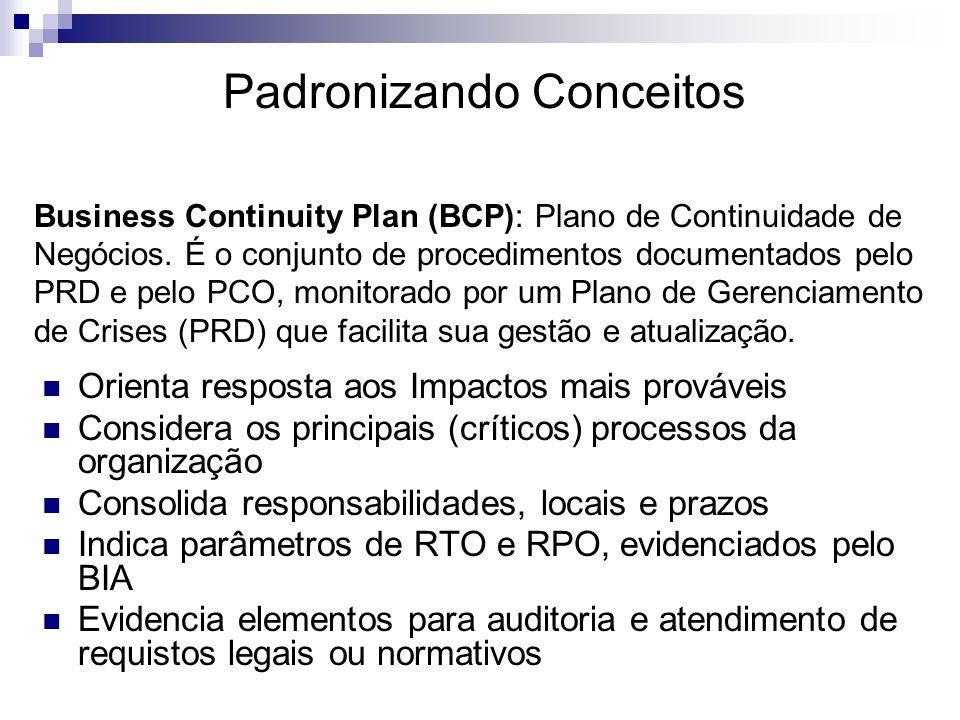 Padronizando Conceitos Business Continuity Plan (BCP): Plano de Continuidade de Negócios. É o conjunto de procedimentos documentados pelo PRD e pelo P