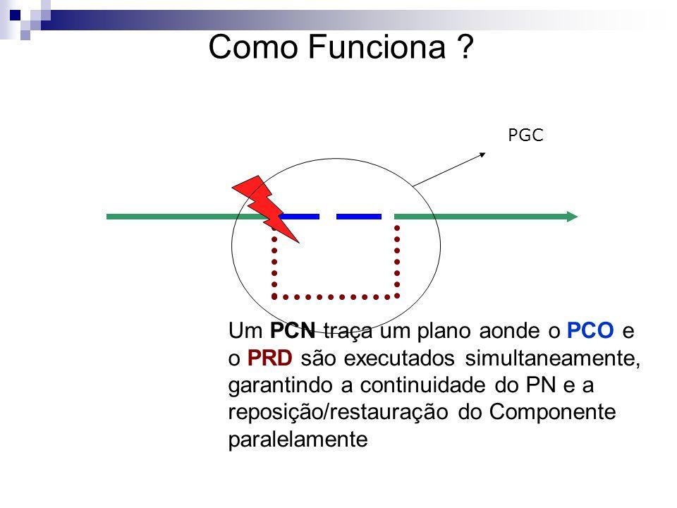 Um PCN traça um plano aonde o PCO e o PRD são executados simultaneamente, garantindo a continuidade do PN e a reposição/restauração do Componente para