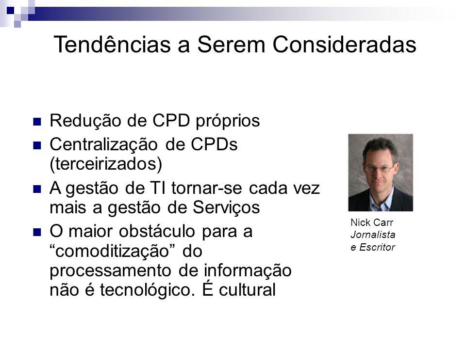 Nick Carr Jornalista e Escritor Redução de CPD próprios Centralização de CPDs (terceirizados) A gestão de TI tornar-se cada vez mais a gestão de Servi