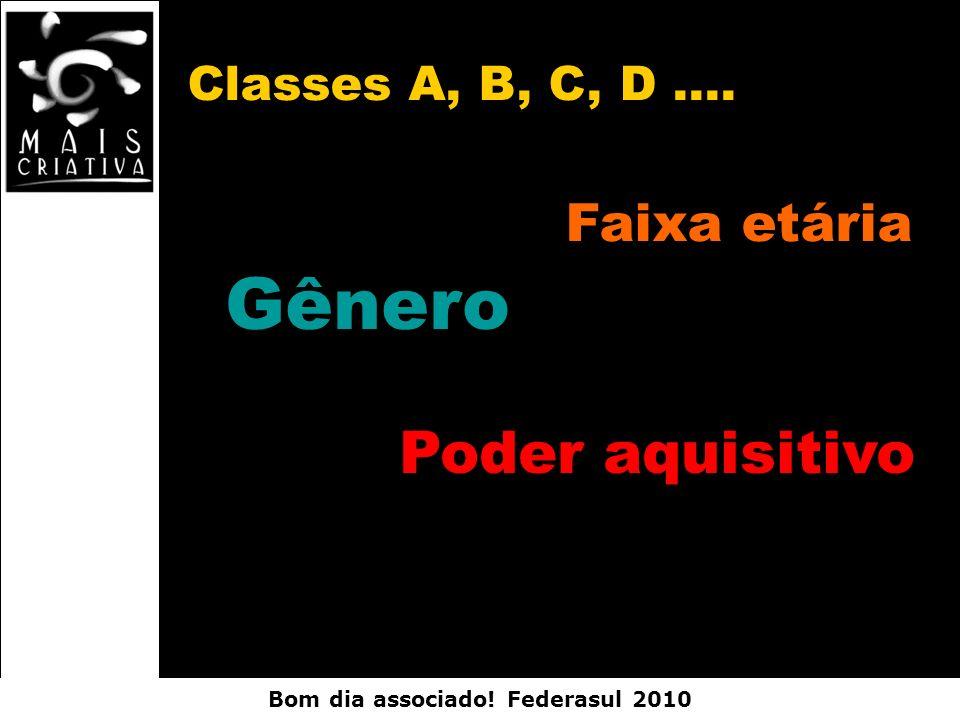 Bom dia associado! Federasul 2010 Classes A, B, C, D.... Faixa etária Gênero Poder aquisitivo