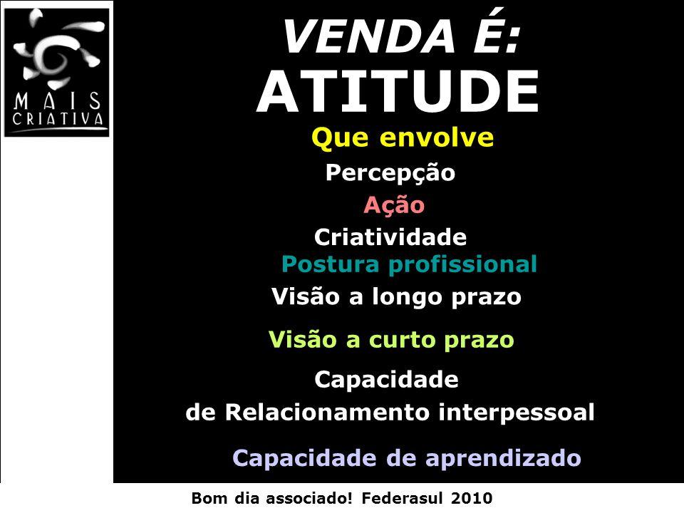 Bom dia associado! Federasul 2010 VENDA É: ATITUDE Que envolve Percepção Ação Criatividade Postura profissional Visão a longo prazo Visão a curto praz