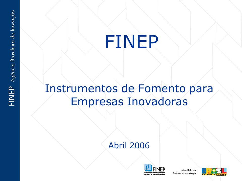 FINEP Instrumentos de Fomento para Empresas Inovadoras Abril 2006