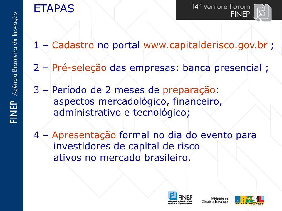 ETAPAS 1 – Cadastro no portal www.capitalderisco.gov.br ; 2 – Pré-seleção das empresas: banca presencial ; 3 – Período de 2 meses de preparação: aspec