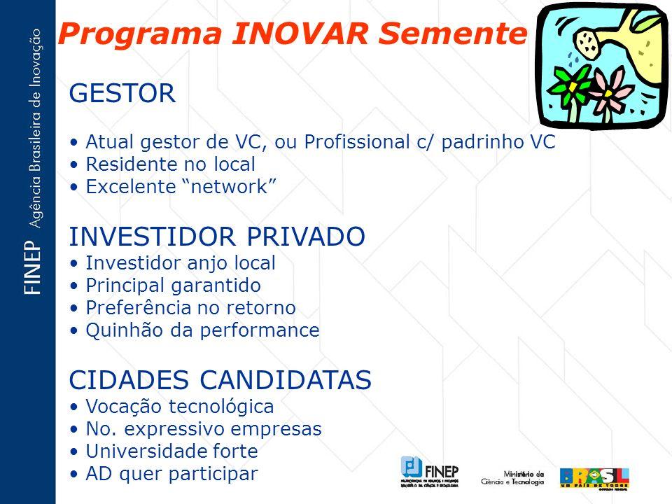 Programa INOVAR Semente GESTOR Atual gestor de VC, ou Profissional c/ padrinho VC Residente no local Excelente network INVESTIDOR PRIVADO Investidor a