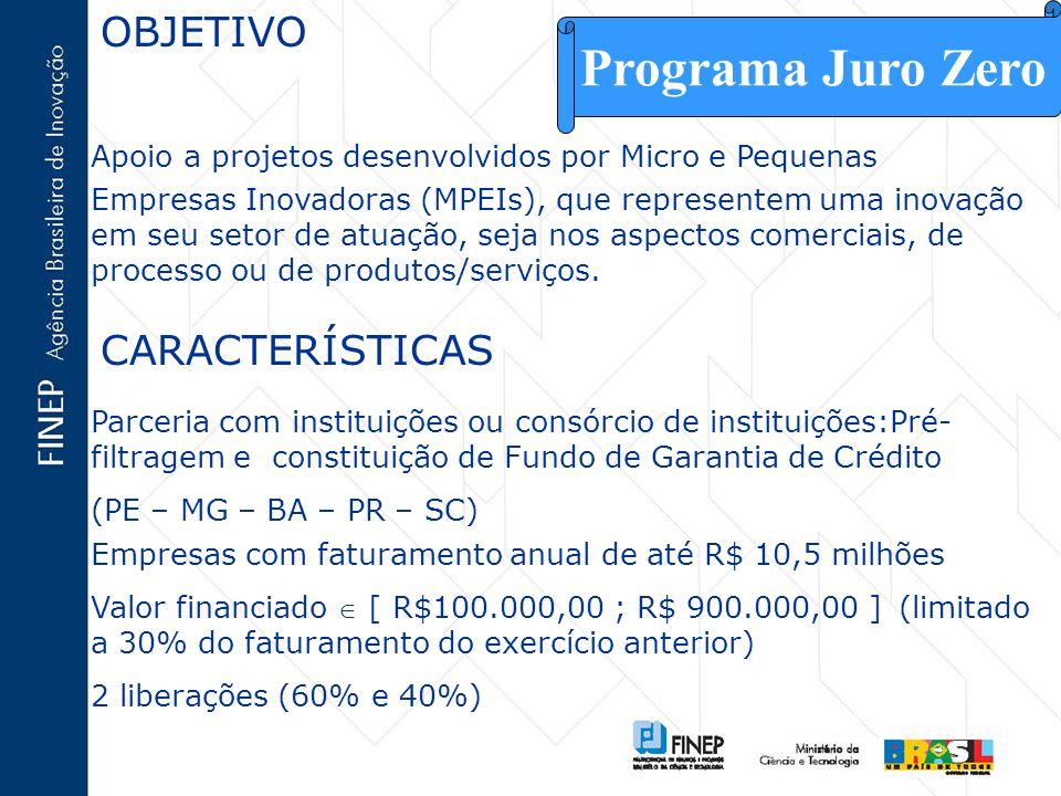 OBJETIVO Apoio a projetos desenvolvidos por Micro e Pequenas Empresas Inovadoras (MPEIs), que representem uma inovação em seu setor de atuação, seja n