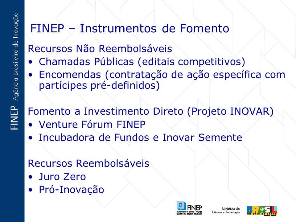 FINEP – Instrumentos de Fomento Recursos Não Reembolsáveis Chamadas Públicas (editais competitivos) Encomendas (contratação de ação específica com par