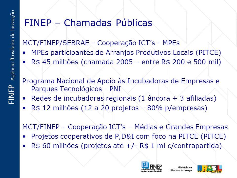 FINEP – Chamadas Públicas MCT/FINEP/SEBRAE – Cooperação ICTs - MPEs MPEs participantes de Arranjos Produtivos Locais (PITCE) R$ 45 milhões (chamada 20