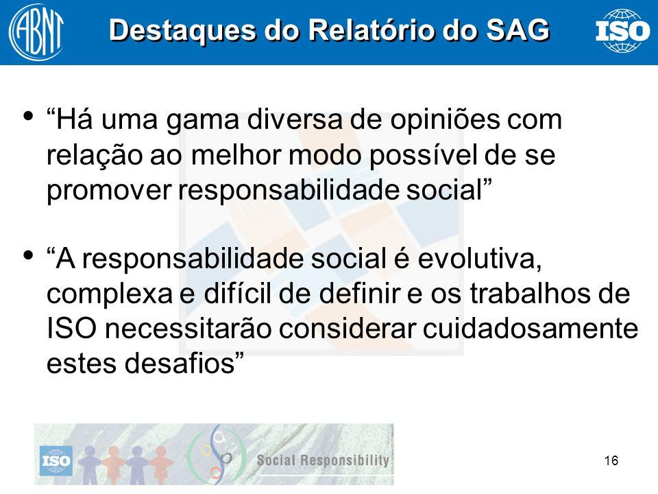 16 Destaques do Relatório do SAG Há uma gama diversa de opiniões com relação ao melhor modo possível de se promover responsabilidade social Há uma gam