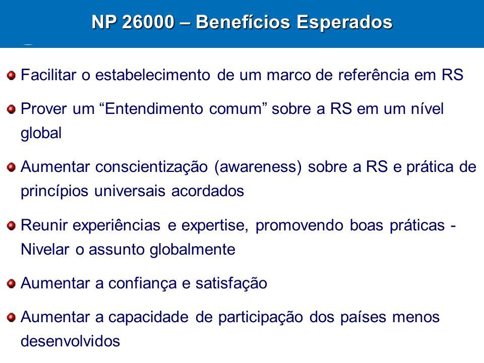 21 NP 26000 – Benefícios Esperados Facilitar o estabelecimento de um marco de referência em RS Prover um Entendimento comum sobre a RS em um nível glo