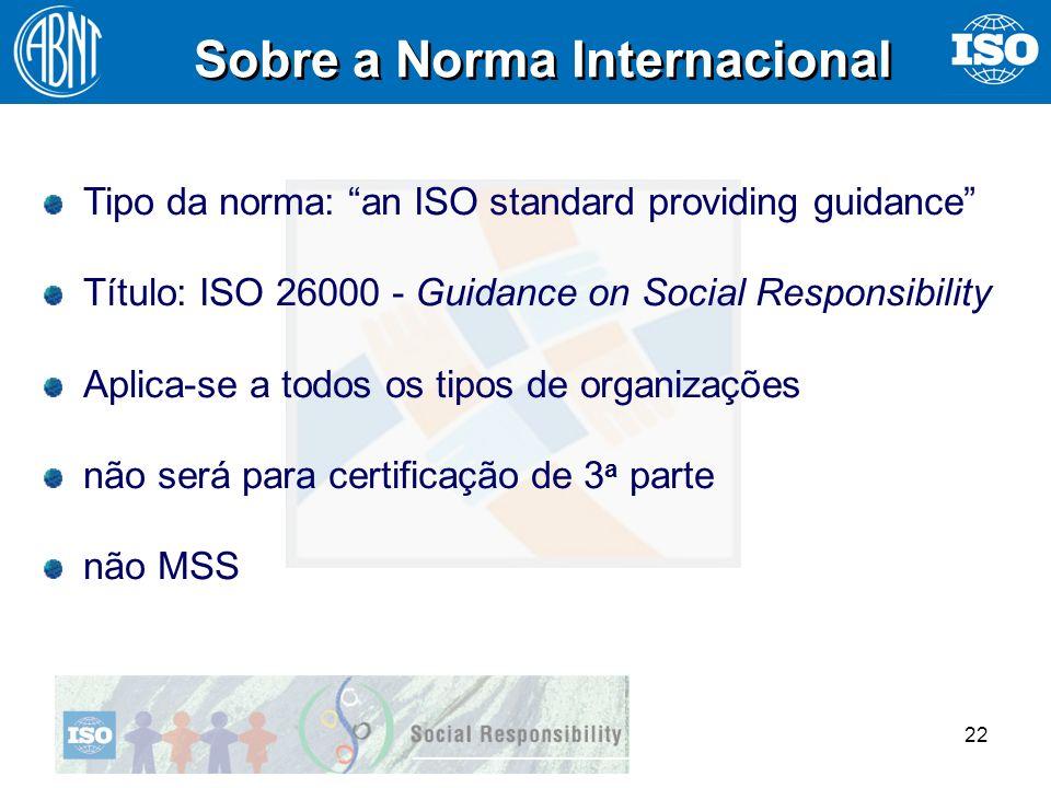 22 Sobre a Norma Internacional Tipo da norma: an ISO standard providing guidance Título: ISO 26000 - Guidance on Social Responsibility Aplica-se a tod