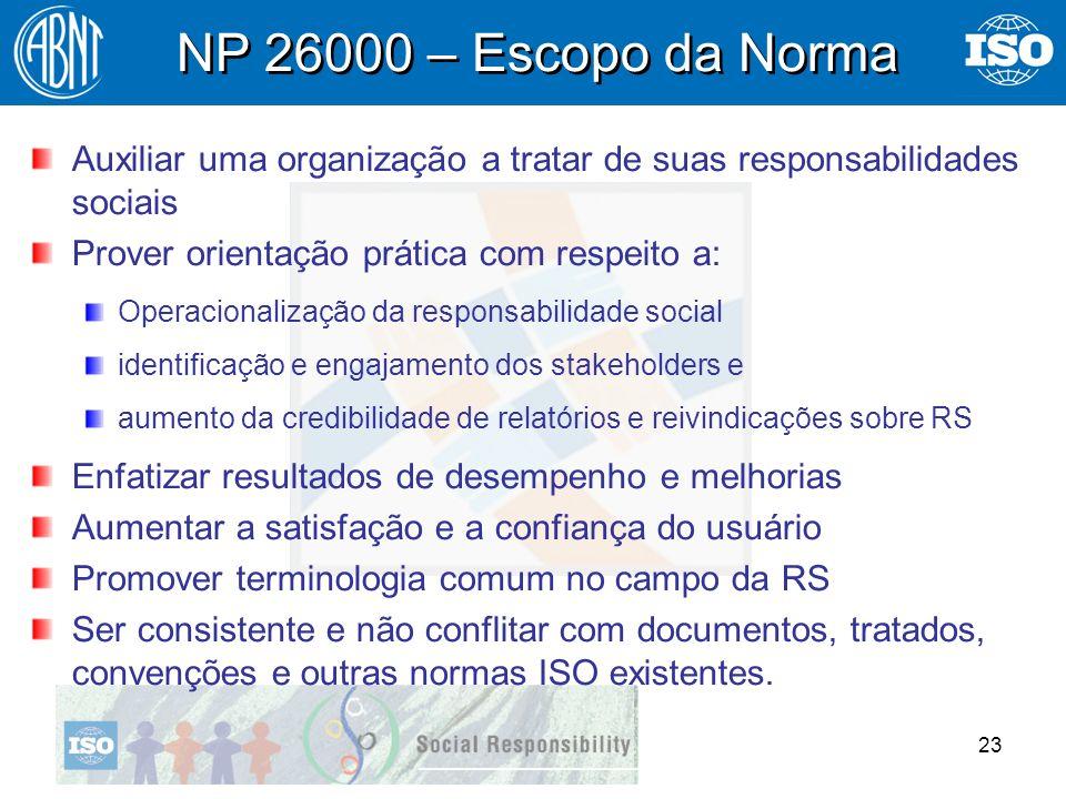 23 Auxiliar uma organização a tratar de suas responsabilidades sociais Prover orientação prática com respeito a: Operacionalização da responsabilidade
