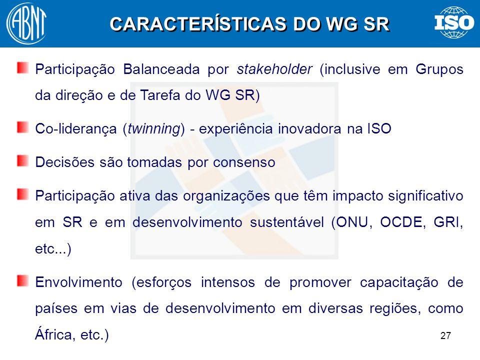 27 Participação Balanceada por stakeholder (inclusive em Grupos da direção e de Tarefa do WG SR) Co-liderança (twinning) - experiência inovadora na IS