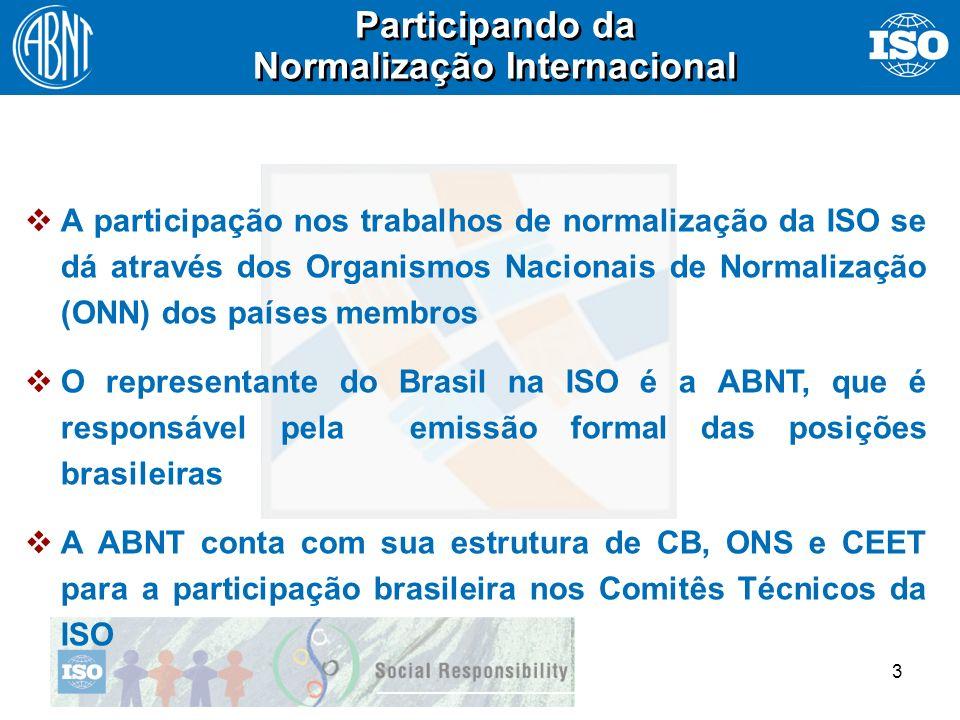 3 A participação nos trabalhos de normalização da ISO se dá através dos Organismos Nacionais de Normalização (ONN) dos países membros O representante