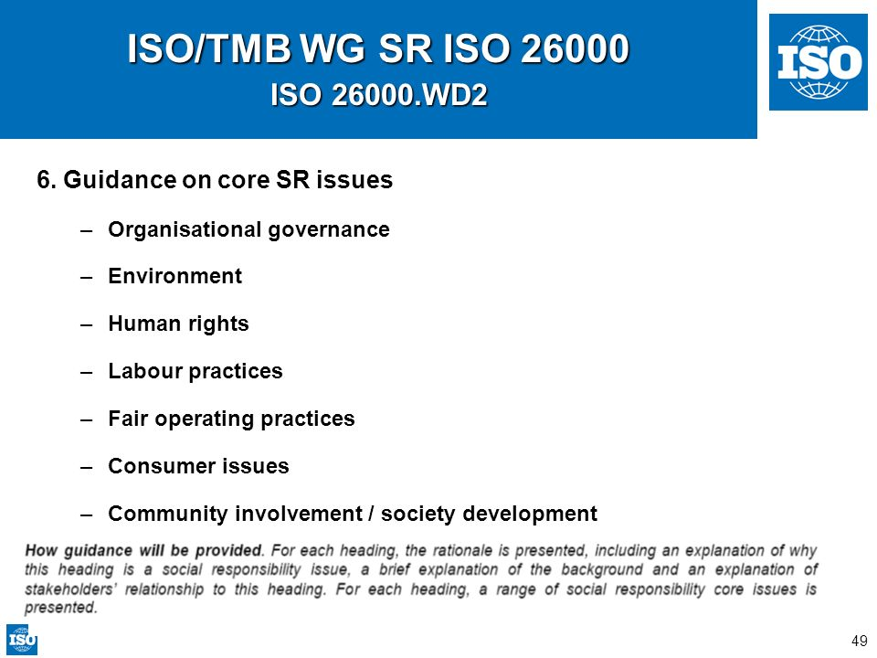 49 ISO/TMB WG SR ISO 26000 ISO 26000.WD2 6. Guidance on core SR issues –Organisational governance –Environment –Human rights –Labour practices –Fair o