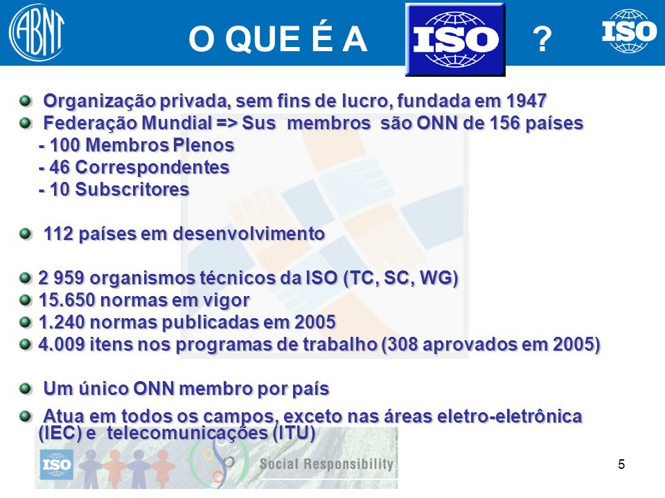 5 Organização privada, sem fins de lucro, fundada em 1947 Organização privada, sem fins de lucro, fundada em 1947 Federação Mundial => Sus membros são