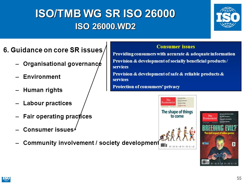 55 ISO/TMB WG SR ISO 26000 ISO 26000.WD2 6. Guidance on core SR issues –Organisational governance –Environment –Human rights –Labour practices –Fair o