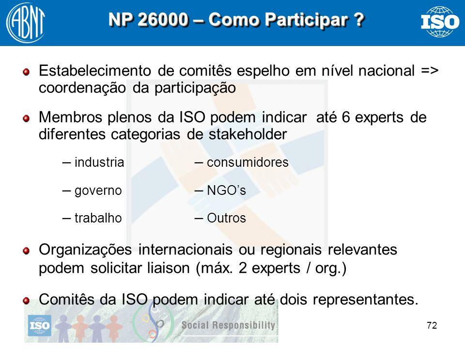 72 NP 26000 – Como Participar ? Estabelecimento de comitês espelho em nível nacional => coordenação da participação Membros plenos da ISO podem indica