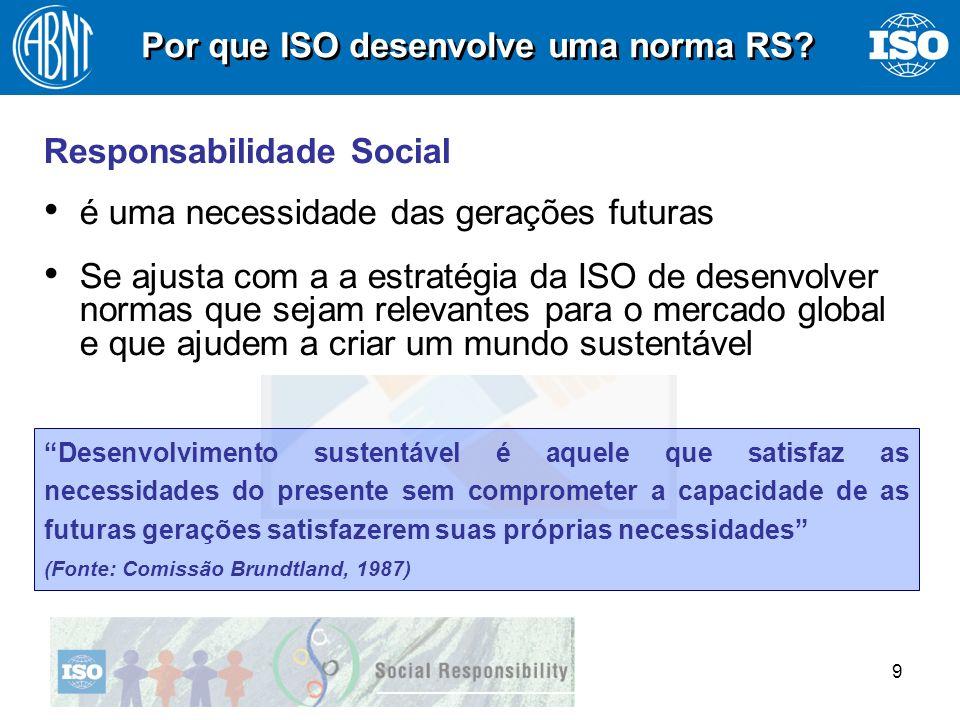 10 Normas ISO são cruciais para o desenvolvimento sustentável uma vez que elas são uma fonte fundamental de know how tecnológico Kofi Annan, Assembléia Geral ISO, set.