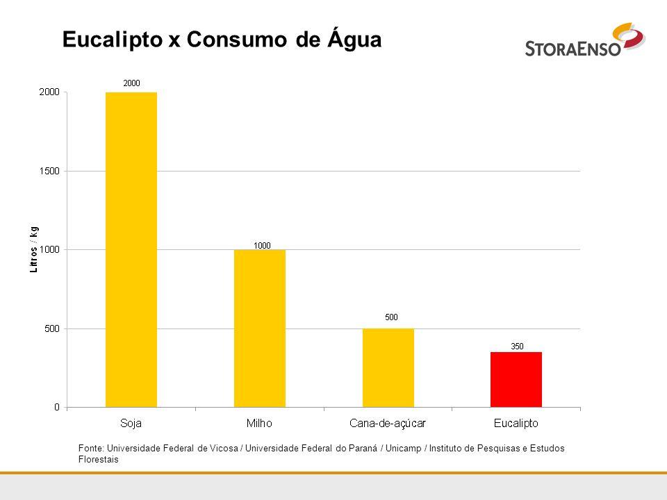 Eucalipto x Consumo de Água Fonte: Universidade Federal de Vicosa / Universidade Federal do Paraná / Unicamp / Instituto de Pesquisas e Estudos Flores