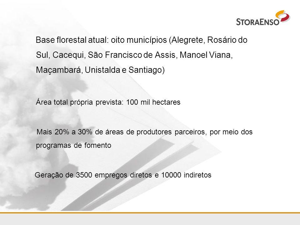 Base florestal atual: oito municípios (Alegrete, Rosário do Sul, Cacequi, São Francisco de Assis, Manoel Viana, Maçambará, Unistalda e Santiago) Área