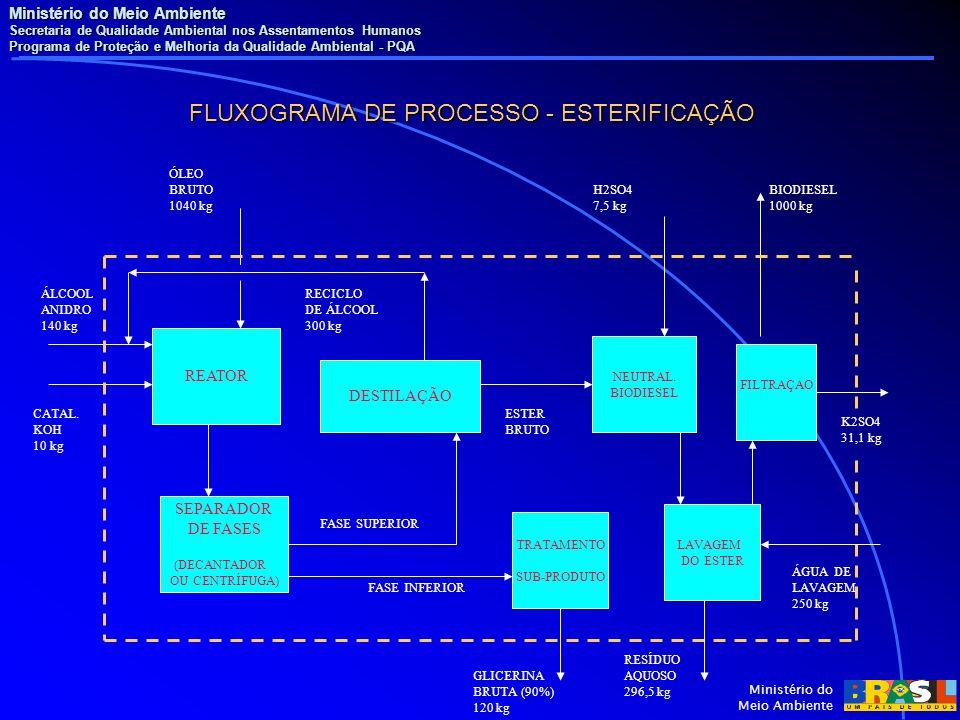 Ministério do Meio Ambiente Secretaria de Qualidade Ambiental nos Assentamentos Humanos Programa de Proteção e Melhoria da Qualidade Ambiental - PQA Ministério do Meio Ambiente FLUXOGRAMA DE PROCESSO - ESTERIFICAÇÃO REATOR SEPARADOR DE FASES (DECANTADOR OU CENTRÍFUGA) DESTILAÇÃO TRATAMENTO SUB-PRODUTO NEUTRAL.