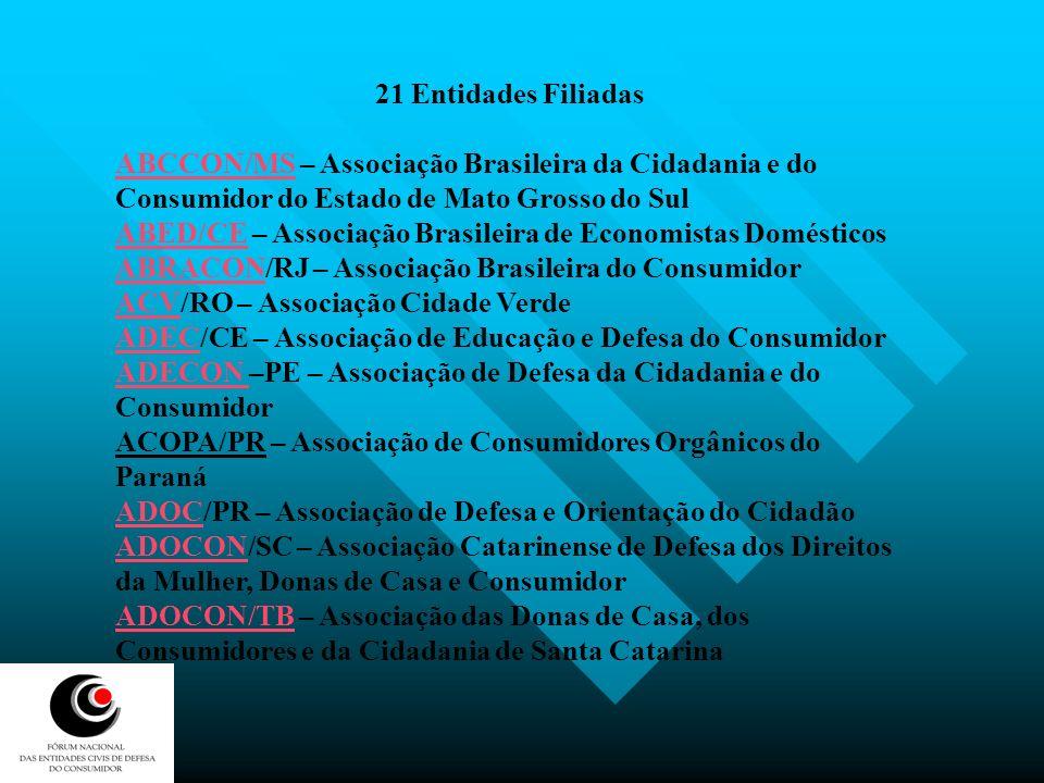 ADUSEPSADUSEPS/PE – Associação dos Usuários de Seguros, Planos e Sistemas de Saúde ASADECASADEC/CE – Associação de Apoio e Defesa do Consumidor CDCCDC/RN – Centro de Defesa do Consumidor do Rio Grande do Norte DECONORDECONOR/SC – Comitê de Defesa do Consumidor Organizado de Florianópolis FEDC/RS – Fórum Estadual de Defesa do Consumidor do RS ICONESICONES/PA – Instituto para o Consumo Educativo Sustentável do Estado do Pará IDECIDEC/SP – Instituto Brasileiro de Defesa do Consumidor MDCCBMDCCB/BA – Movimento de Donas de Casa e Consumidores da Bahia MDC/MGMDC/MG – Movimento das Donas de Casa e Consumidores de Minas Gerais MDC/GO Movimento das Donas de Casa e Consumidores de Minas Gerais MDCC/RSMDCC/RS – Movimento das Donas de Casa do Rio Grande do Sul VIDA BRASILVIDA BRASIL – Valorização do Indivíduo e Desenvolvimento Ativo