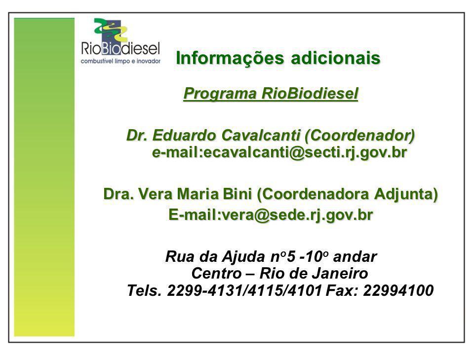 Informações adicionais Programa RioBiodiesel Dr. Eduardo Cavalcanti (Coordenador) e-mail:ecavalcanti@secti.rj.gov.br Dra. Vera Maria Bini (Coordenador