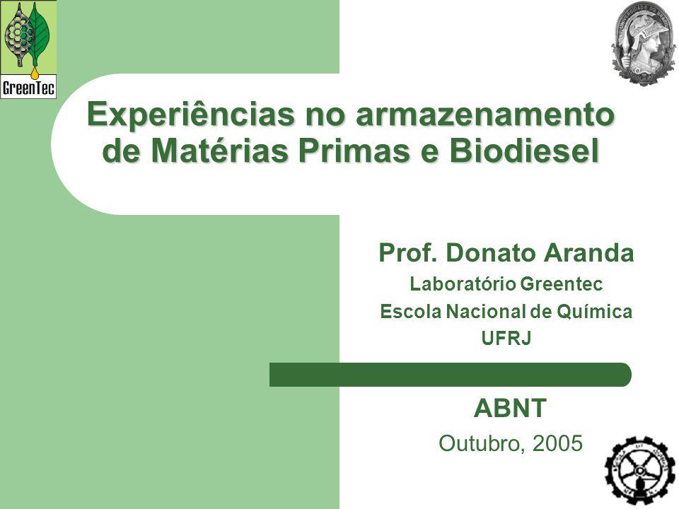 Experiências no armazenamento de Matérias Primas e Biodiesel Prof. Donato Aranda Laboratório Greentec Escola Nacional de Química UFRJ ABNT Outubro, 20