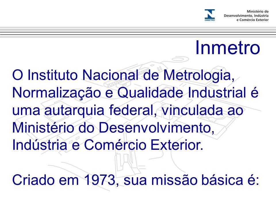 Marca do evento Inmetro O Instituto Nacional de Metrologia, Normalização e Qualidade Industrial é uma autarquia federal, vinculada ao Ministério do De