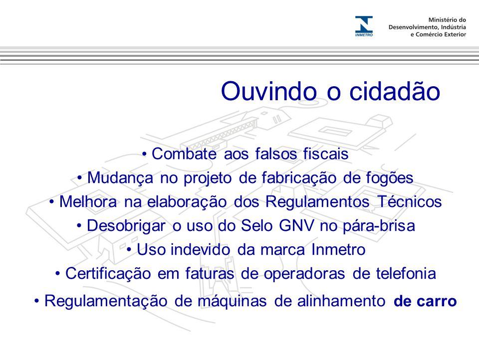 Marca do evento Combate aos falsos fiscais Mudança no projeto de fabricação de fogões Melhora na elaboração dos Regulamentos Técnicos Desobrigar o uso