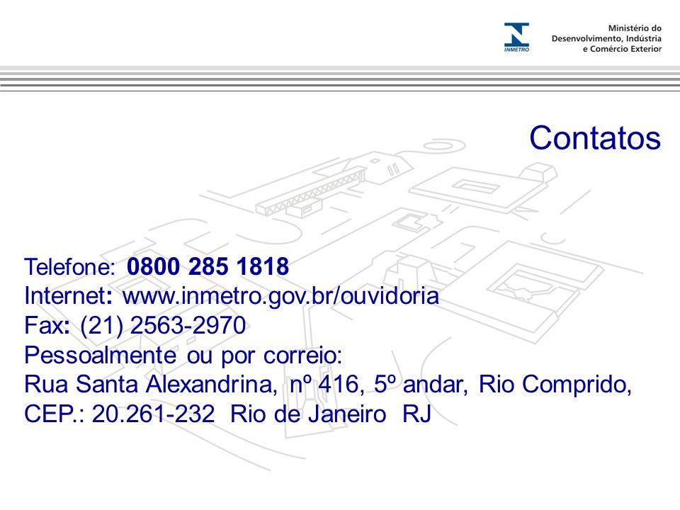 Marca do evento Telefone: 0800 285 1818 Internet: www.inmetro.gov.br/ouvidoria Fax: (21) 2563-2970 Pessoalmente ou por correio: Rua Santa Alexandrina,