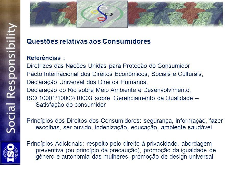 Questões relativas aos Consumidores Referências : Diretrizes das Nações Unidas para Proteção do Consumidor Pacto Internacional dos Direitos Econômicos