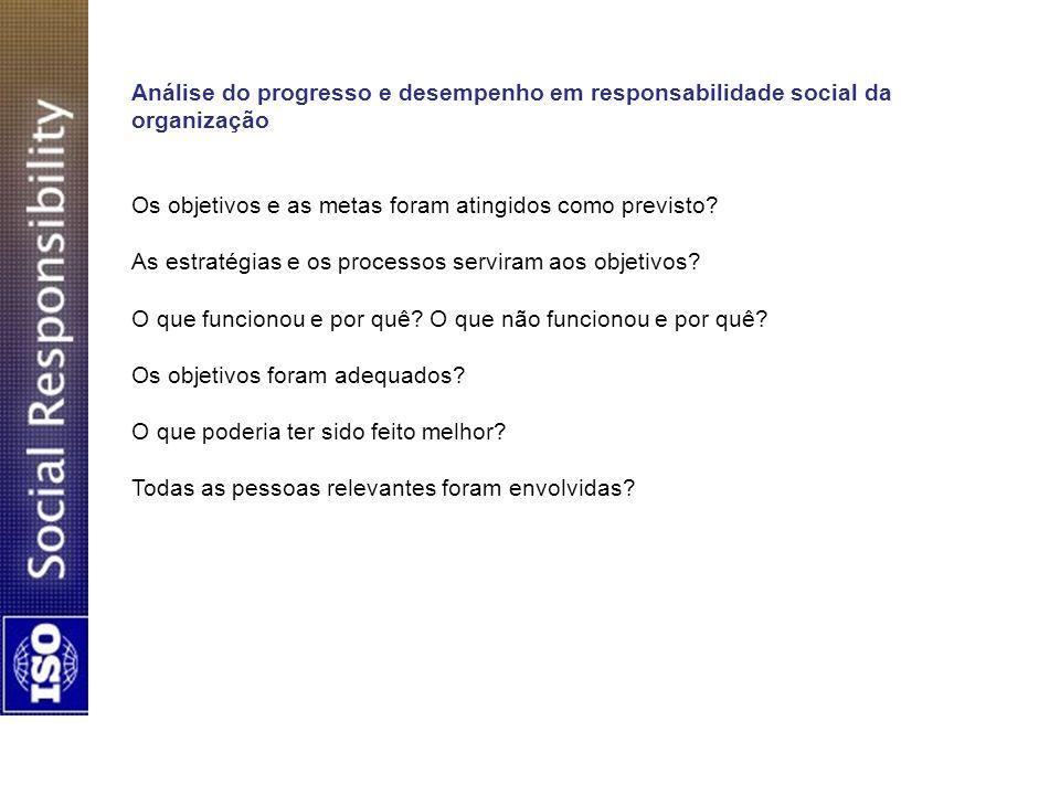 Análise do progresso e desempenho em responsabilidade social da organização Os objetivos e as metas foram atingidos como previsto? As estratégias e os