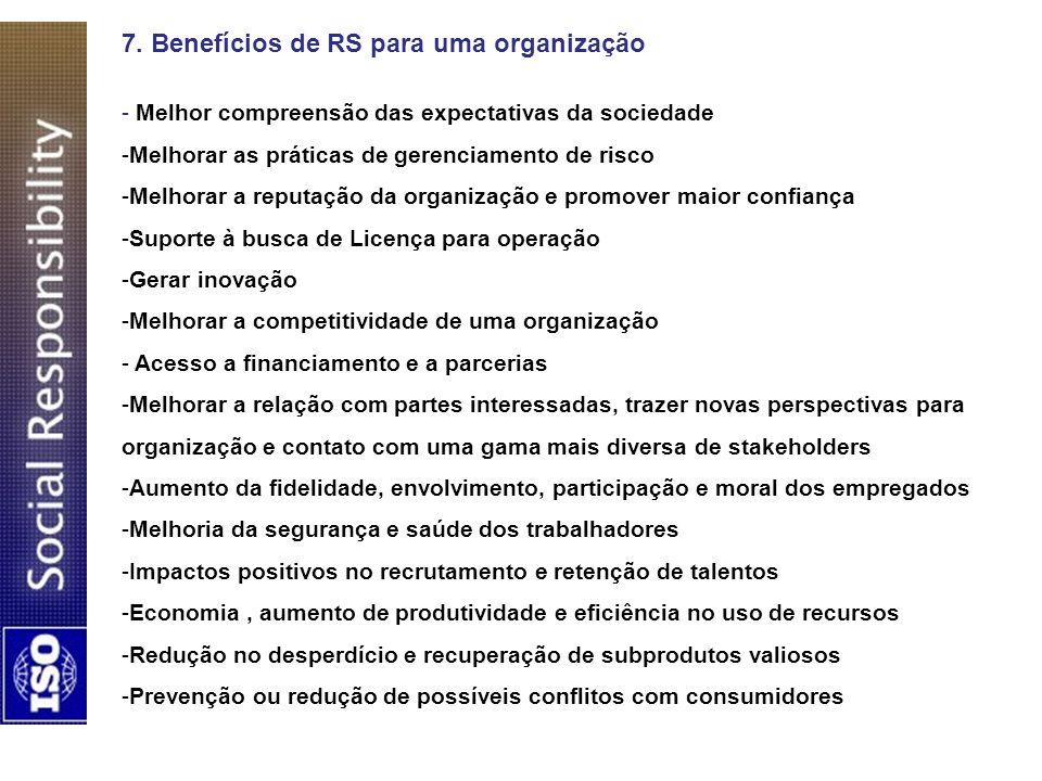 7. Benefícios de RS para uma organização - Melhor compreensão das expectativas da sociedade -Melhorar as práticas de gerenciamento de risco -Melhorar