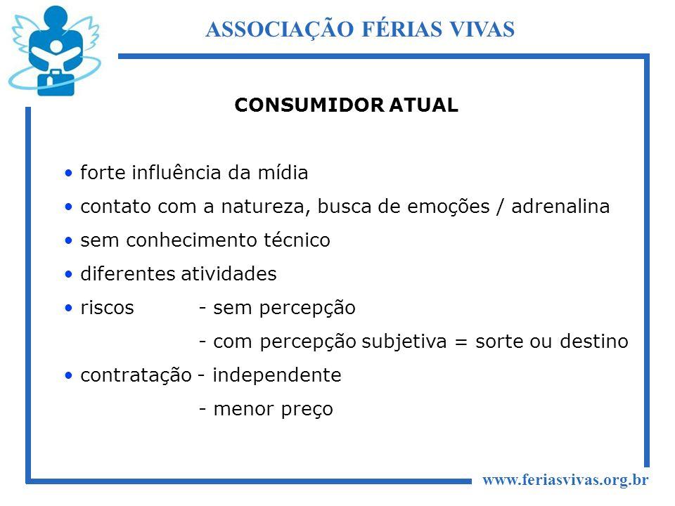 www.feriasvivas.org.br ASSOCIAÇÃO FÉRIAS VIVAS CONSUMIDOR ATUAL forte influência da mídia contato com a natureza, busca de emoções / adrenalina sem co