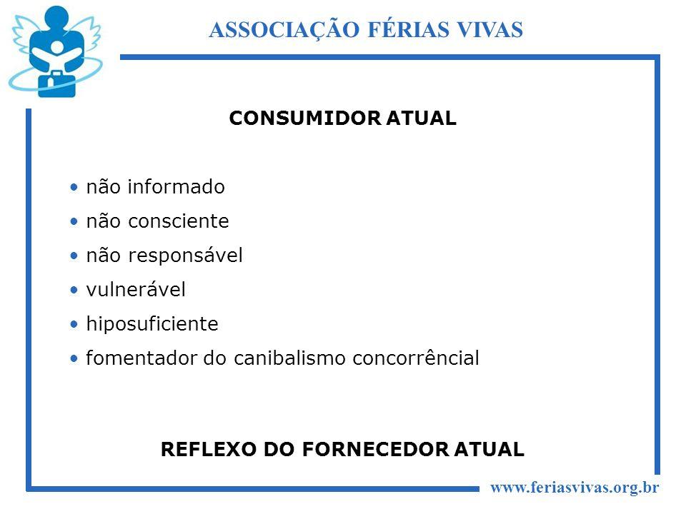 www.feriasvivas.org.br ASSOCIAÇÃO FÉRIAS VIVAS CONSUMIDOR ATUAL não informado não consciente não responsável vulnerável hiposuficiente fomentador do c
