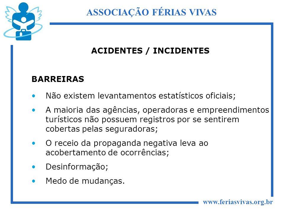 www.feriasvivas.org.br ASSOCIAÇÃO FÉRIAS VIVAS ACIDENTES / INCIDENTES BARREIRAS Não existem levantamentos estatísticos oficiais; A maioria das agência