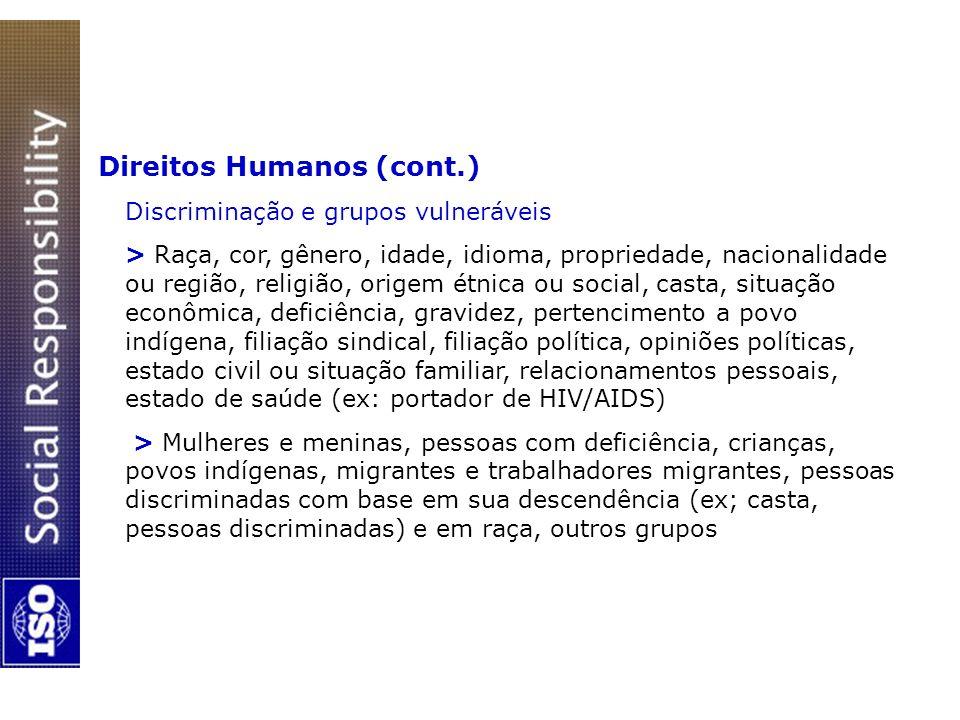 Direitos Humanos (cont.) Discriminação e grupos vulneráveis > Raça, cor, gênero, idade, idioma, propriedade, nacionalidade ou região, religião, origem