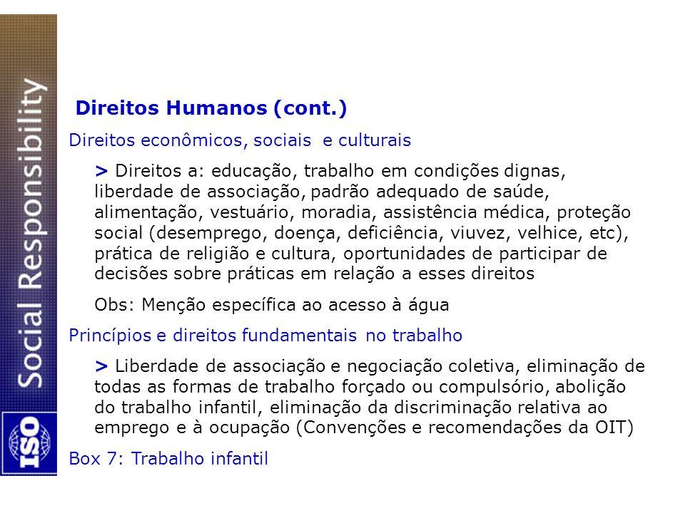 Direitos Humanos (cont.) Direitos econômicos, sociais e culturais > Direitos a: educação, trabalho em condições dignas, liberdade de associação, padrã