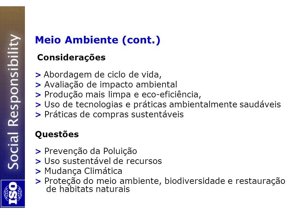 Meio Ambiente (cont.) Considerações > Abordagem de ciclo de vida, > Avaliação de impacto ambiental > Produção mais limpa e eco-eficiência, > Uso de te