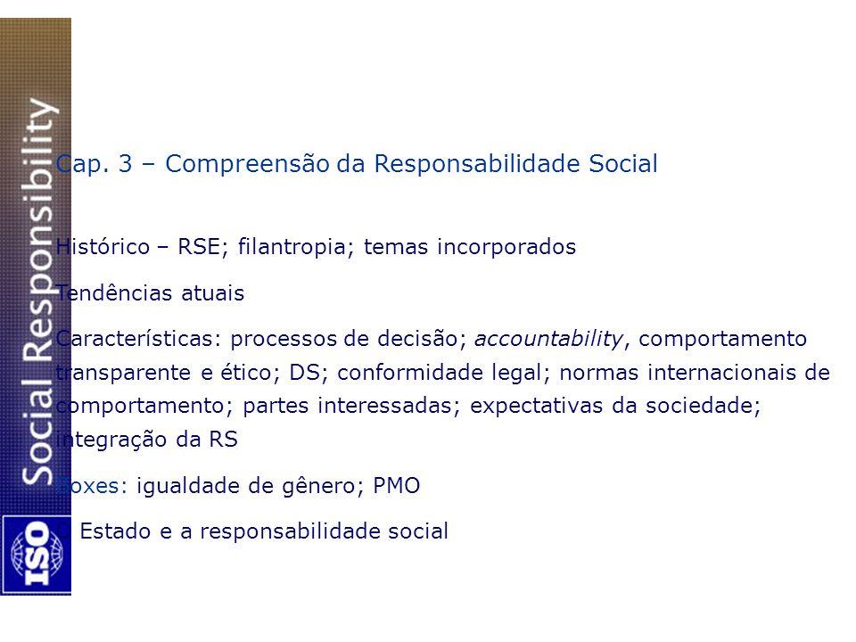 Cap. 3 – Compreensão da Responsabilidade Social Histórico – RSE; filantropia; temas incorporados Tendências atuais Características: processos de decis