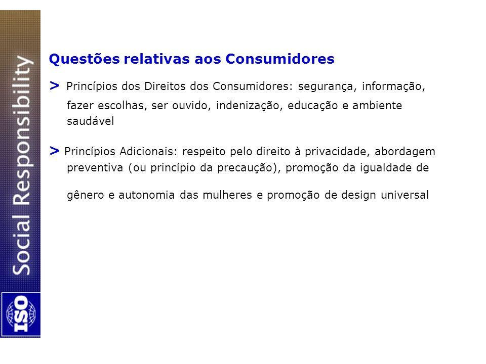 Questões relativas aos Consumidores > Princípios dos Direitos dos Consumidores: segurança, informação, fazer escolhas, ser ouvido, indenização, educaç