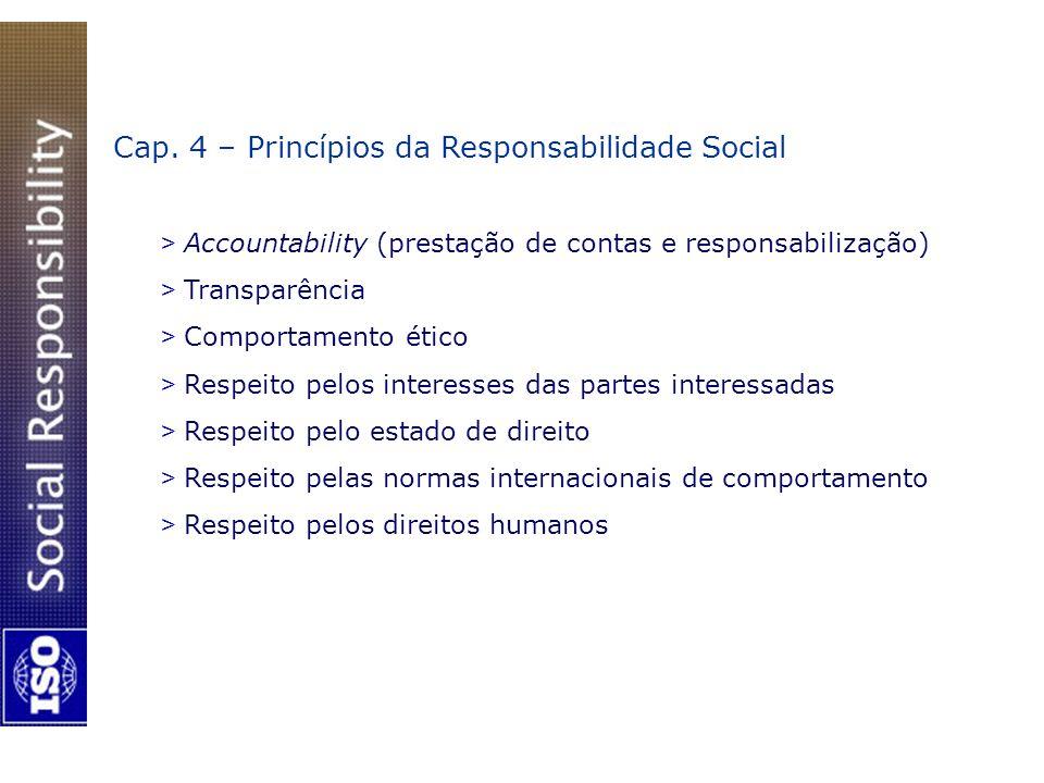 Cap. 4 – Princípios da Responsabilidade Social > Accountability (prestação de contas e responsabilização) > Transparência > Comportamento ético > Resp